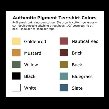 Available Tee-shirt colors